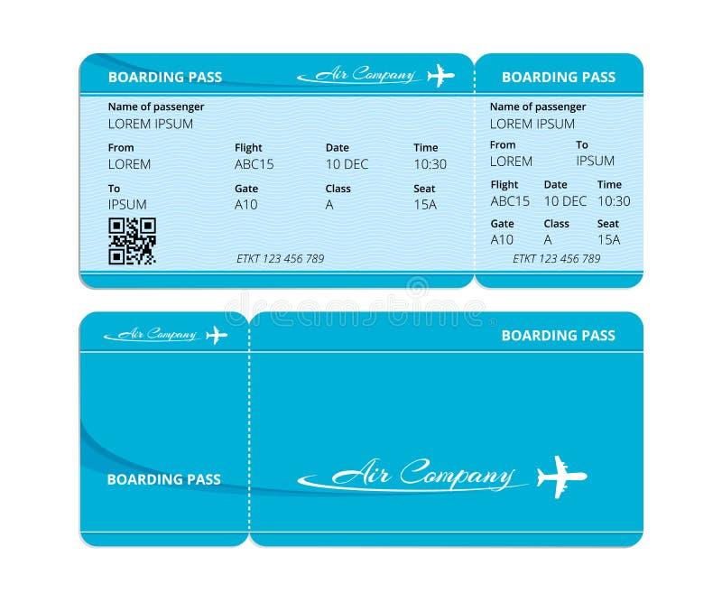 Passagem de embarque azul de papel, bilhete para verificar viajantes com os dados ilustração do vetor
