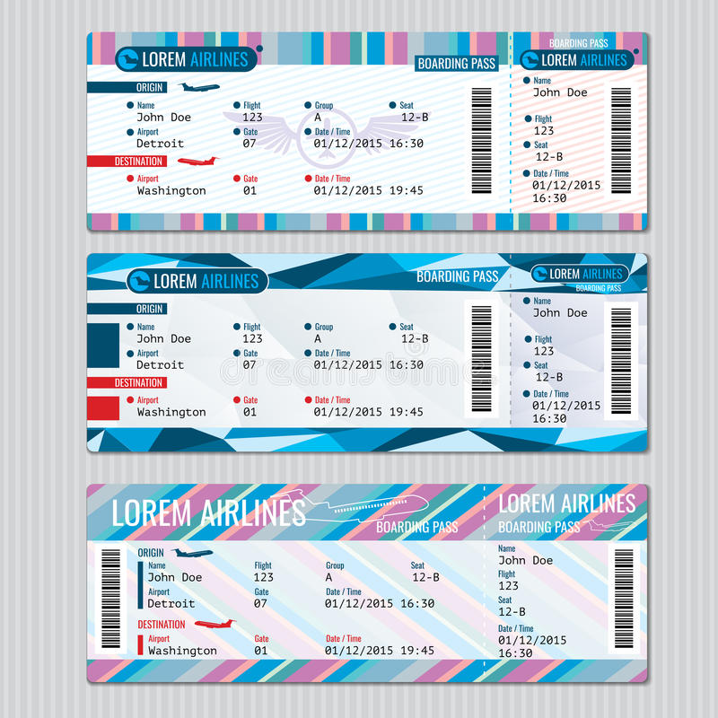 A passagem de embarque da linha aérea tickets o molde do vetor ilustração royalty free
