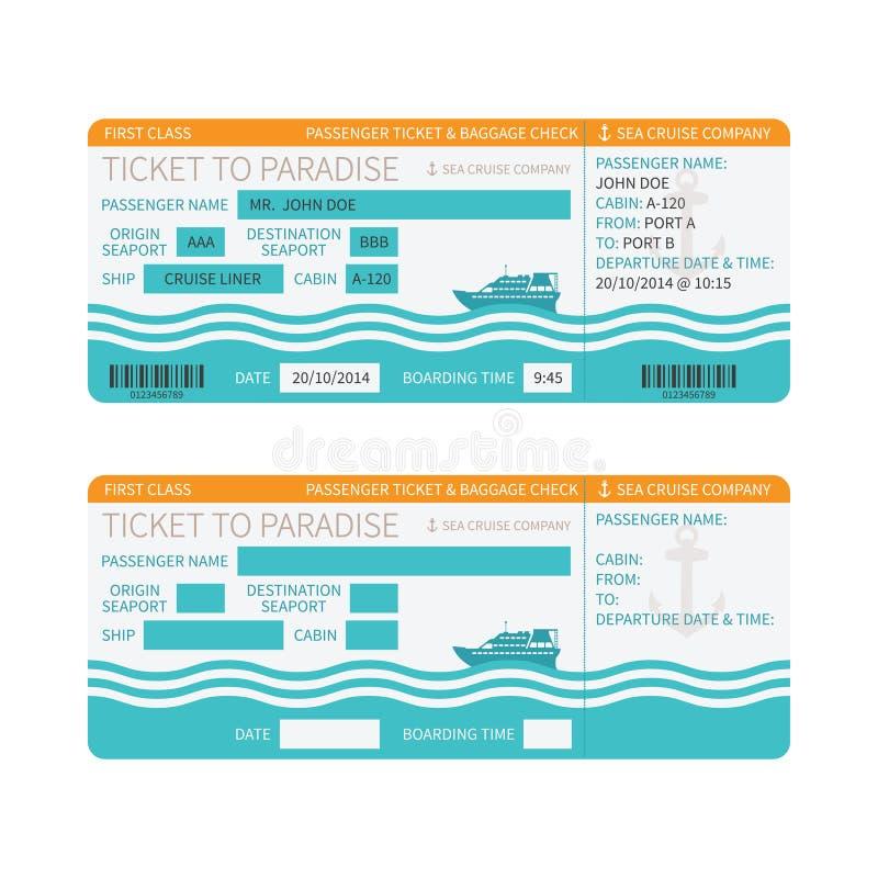 Passagem de embarque do navio de cruzeiros do mar ou molde do bilhete ilustração royalty free