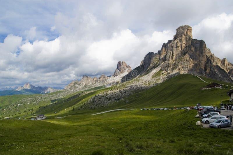 Passagem de Giau, Cortina d'Ampezzo, Belluno, Itália imagens de stock royalty free