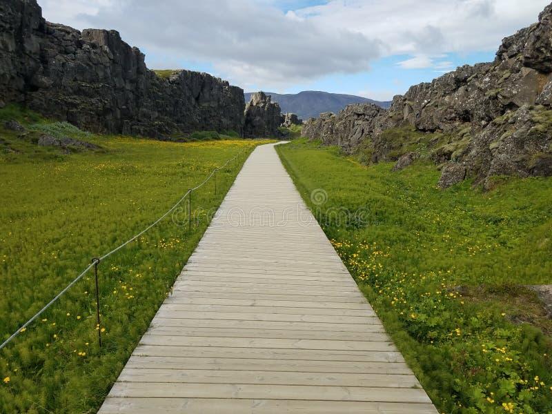 Passagem de madeira longa através do campo e das montanhas verdes imagem de stock