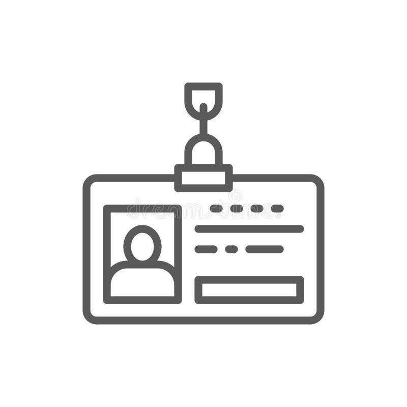 Passagem do empregado, cartão da identificação, linha ícone do perfil da identidade ilustração royalty free