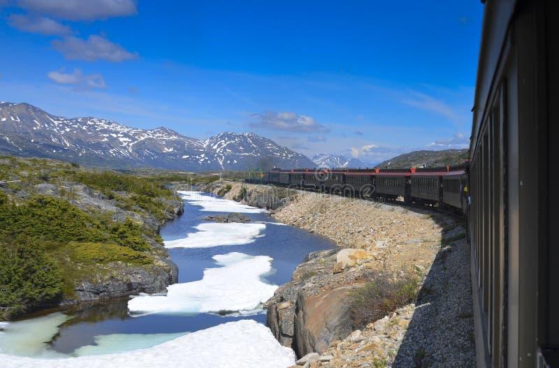 Passagem e estrada de ferro brancas de Yukon fotografia de stock royalty free