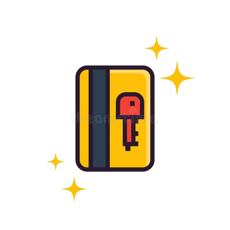Passagem eletrônica, ícone da chave de cartão ilustração stock