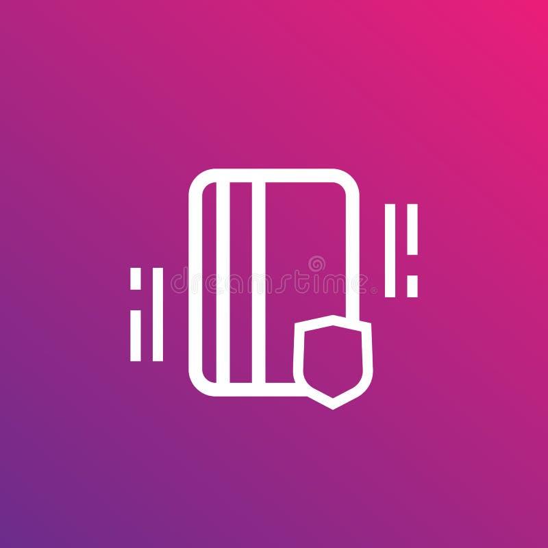 Passagem eletrônica, ícone linear da chave de cartão ilustração do vetor