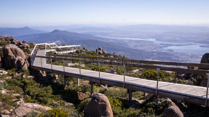 Passagem na vigia do Mt Wellington em Hobart, Tasmânia fotografia de stock royalty free