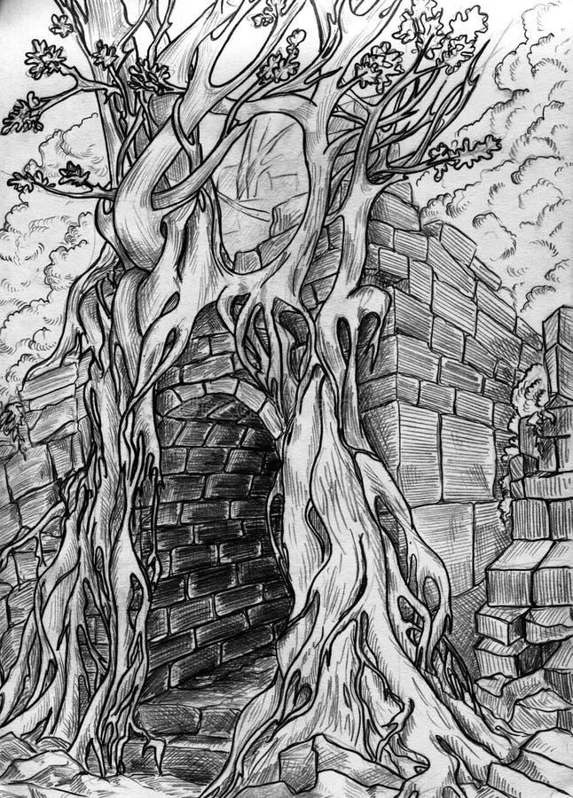 Passagem secreta - esboço do lápis ilustração stock