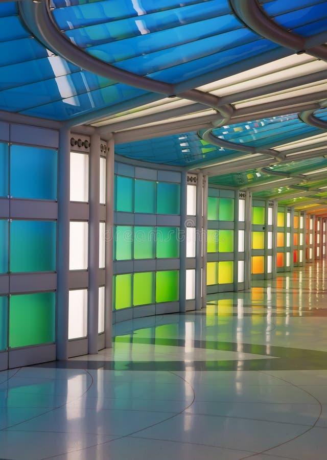 Passagem subterrânea no aeroporto de Chicago O'Hare imagem de stock
