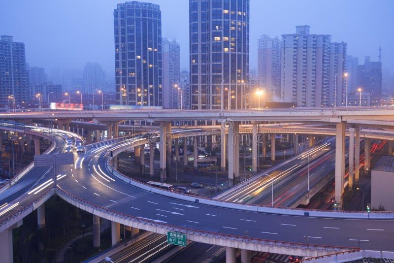 Passagem superior da cidade, Shanghai foto de stock