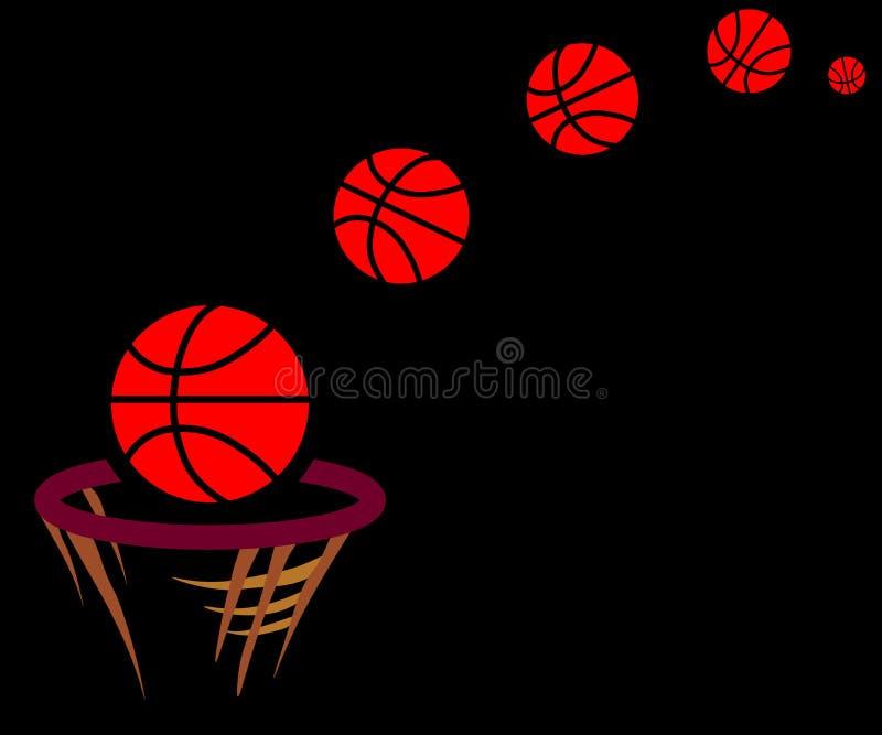 Passagens da bola da Web através da aro na cesta ilustração royalty free