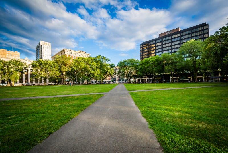Passagens no verde de New Haven e construções no Ha novo do centro fotografia de stock royalty free