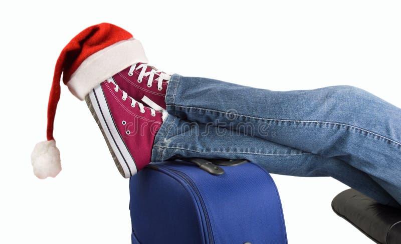 Passager adolescent avec le chapeau de Santa photo libre de droits