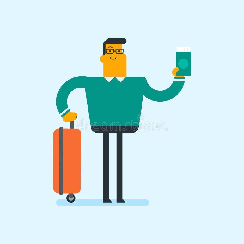 Passager caucasien d'avion tenant un passeport illustration stock