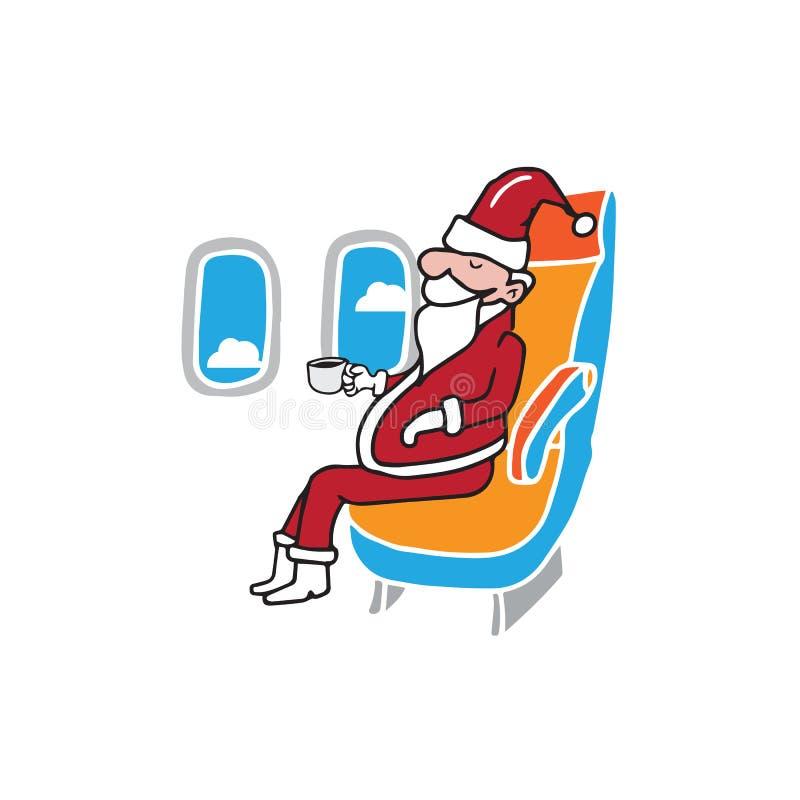Passager Santa de carlingue d'avion illustration de vecteur