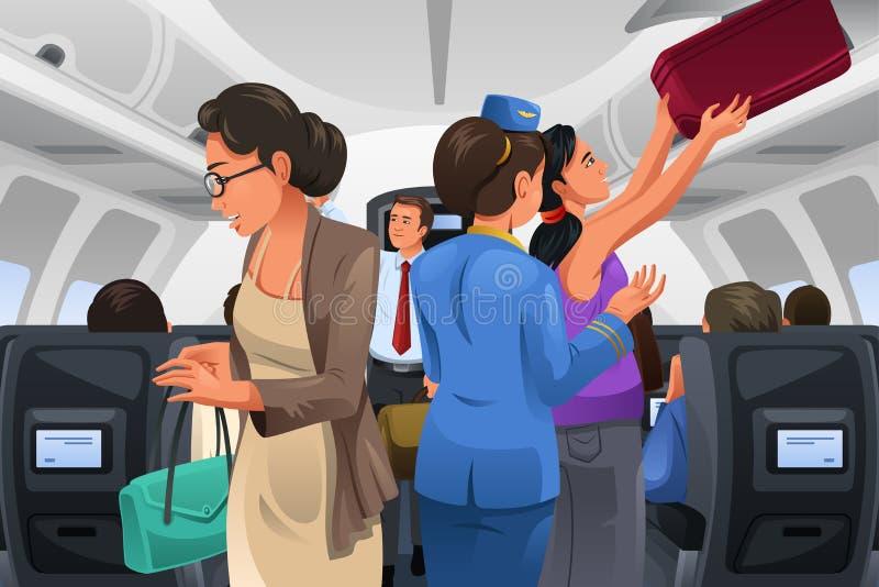Passagerare som lyfter deras handbagagebagage royaltyfri illustrationer