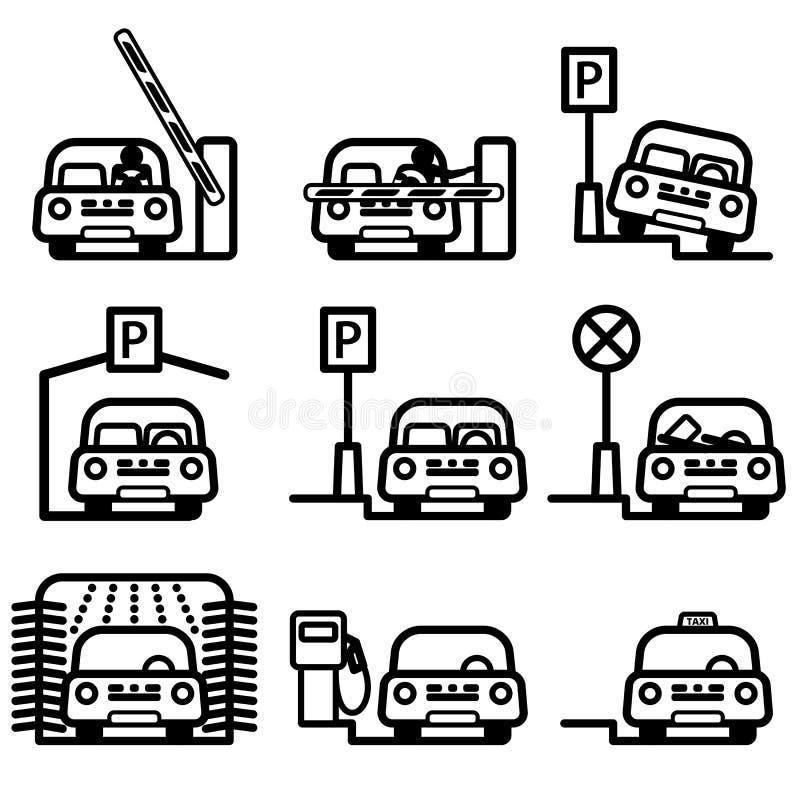 Passagerarebil i olika ställen vektor illustrationer