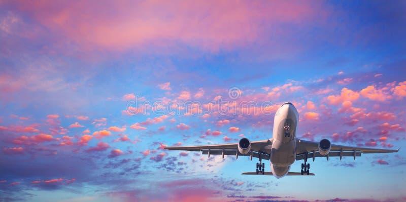 Passagerareflygplanet flyger i den blåa himlen med rosa moln arkivfoton