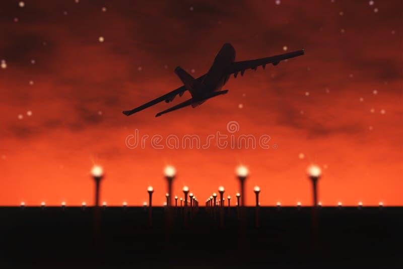 Passagerareflygplanflugan upp över tar av landningsbanan från flygplats framförande 3d vektor illustrationer