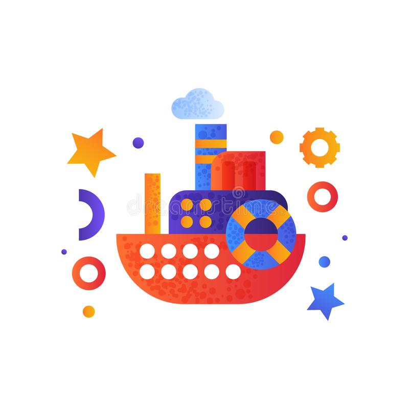 Passagerarekryssningskepp, havslopp, retro illustration för vektor för leksakvattentransport på en vit bakgrund vektor illustrationer