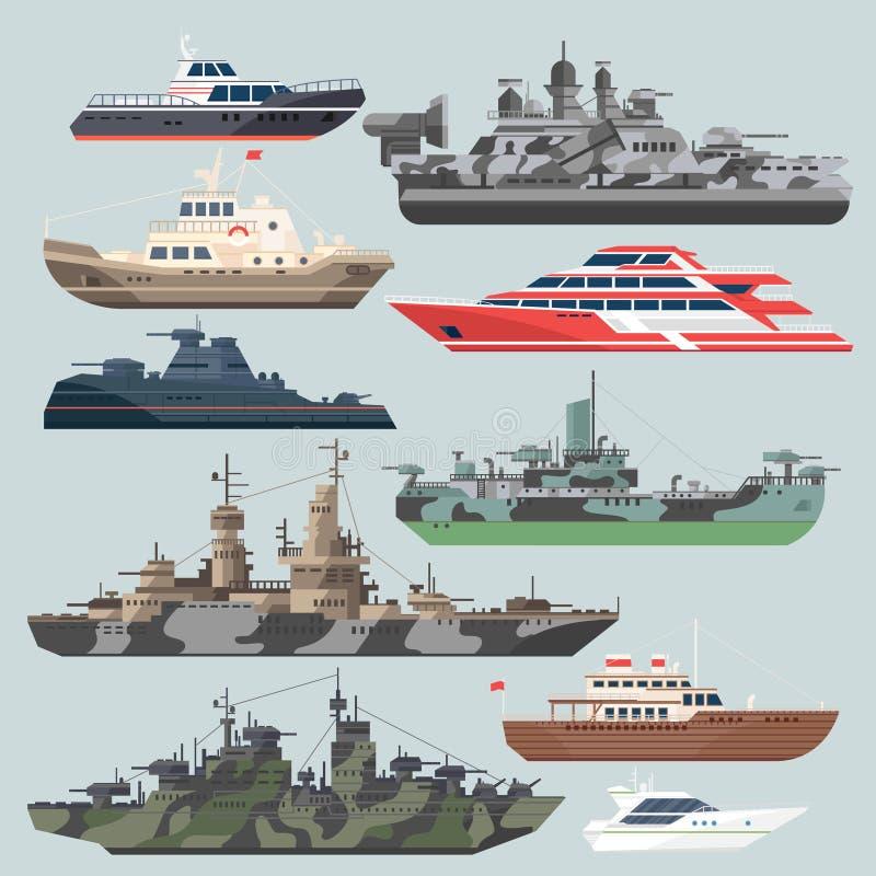 Passagerareskepp och slagskepp Ubåtjagare i havet Illustrationer för vattenfartygvektor i plan stil vektor illustrationer