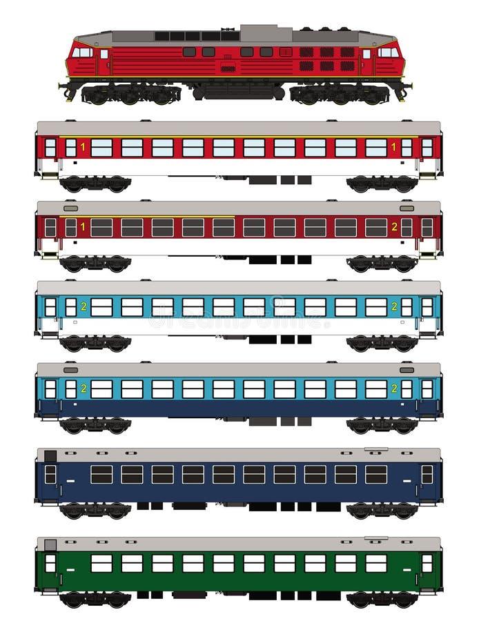 Passagerarewaggons och lokomotiv för drev fastställda royaltyfri illustrationer