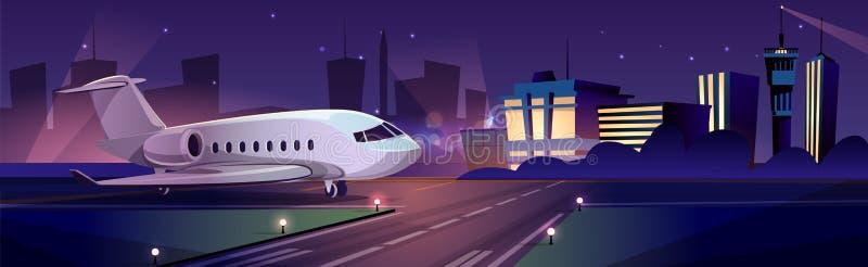 Passagerarflygplan på förrymd vektor för flygplats vektor illustrationer