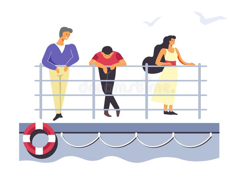 Passagers sur le ferry ou le revêtement, les gens voyageant par la mer illustration stock