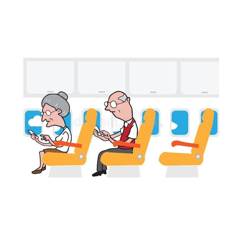 Passagers vieil homme de carlingue d'avion et téléphone intelligent de femme illustration de vecteur
