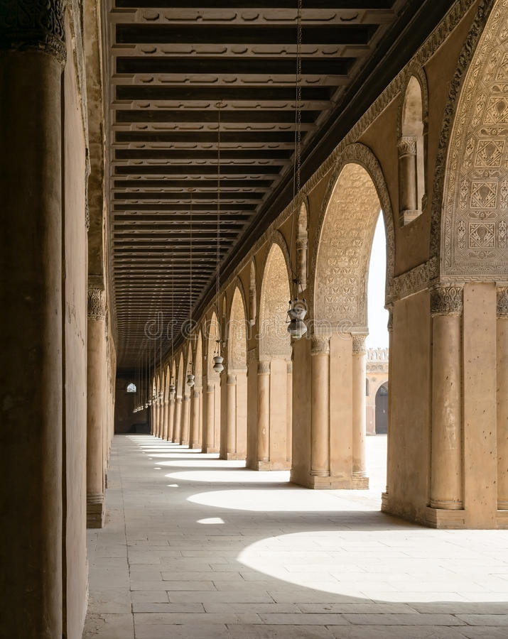Passages in a historic mosque, Cairo, Egypt royalty free stock photography
