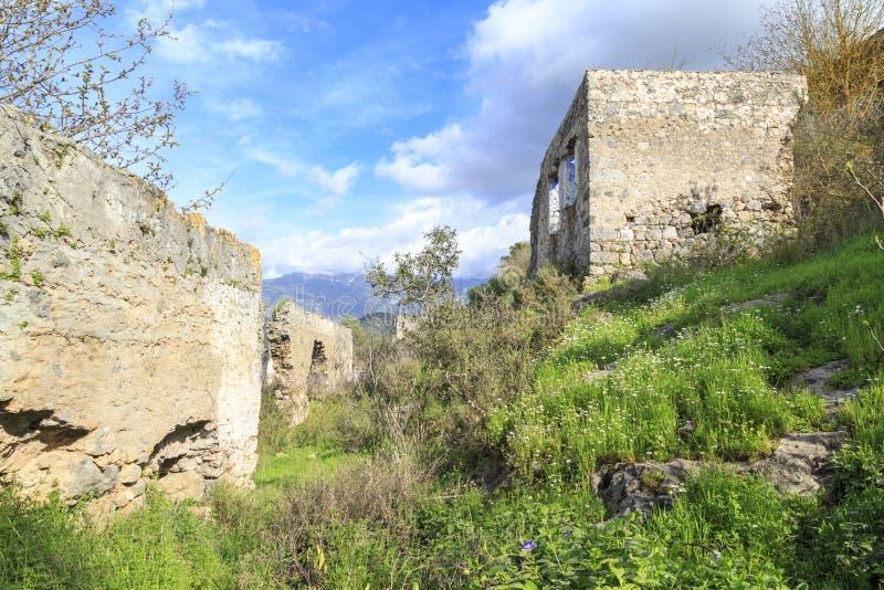 Passages in Kayakoy-karmylassos oud Grieks dorp in fethiye stock afbeelding
