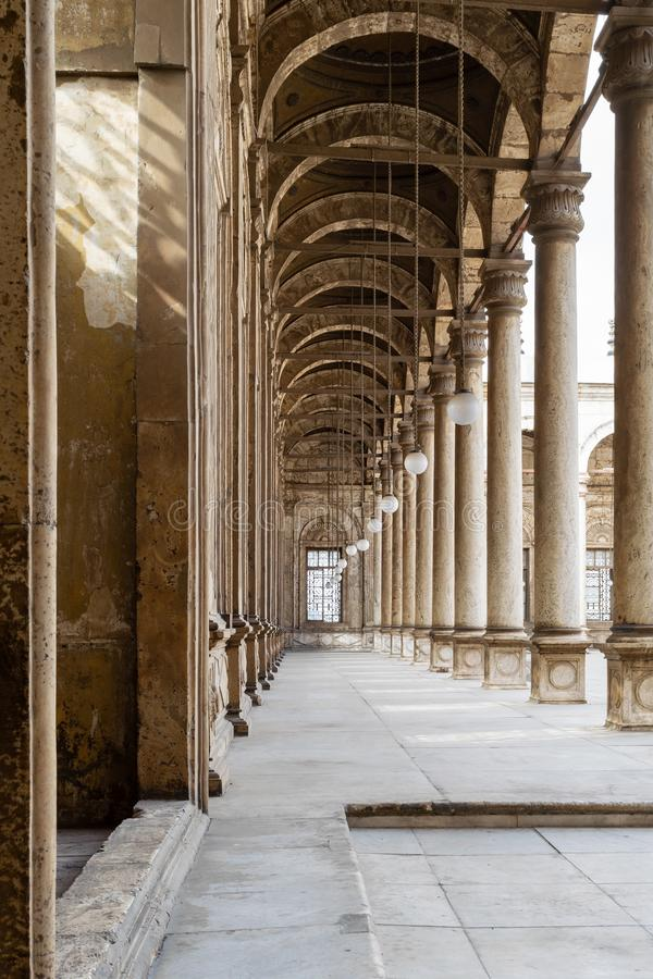 Passages surrounding the court of Muhammad Ali Pasha Mosque, Citadel of Cairo, Egypt. One of the four passages surrounding the court of The Great Mosque of stock photo