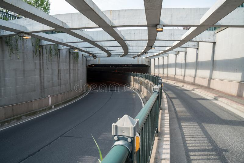 The passageway in the city, Perspective background. A passage of mystery light transportation construction line dirty underground road urban tunnel railroad royalty free stock photography