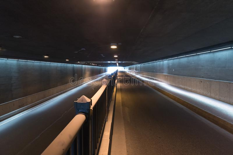 The passageway in the city, Perspective background. A passage of mystery light transportation construction line dirty underground road urban tunnel railroad royalty free stock image