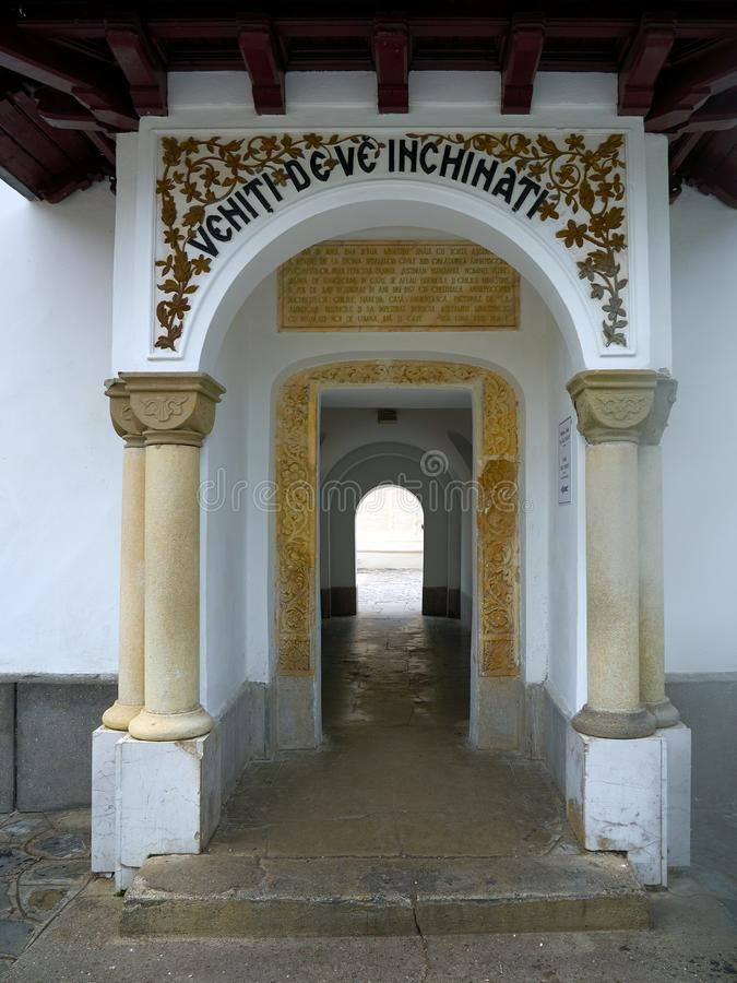 Passageway leading to the Old Church. Sinaia Monastery. The Sinaia Monastery, located in Sinaia, in Prahova County, Romania, was founded by Prince Mihail royalty free stock image