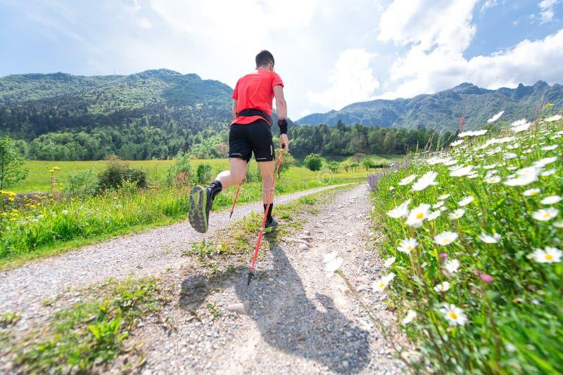 Passaggio del corridore nelle montagne in primavera con sfuocatura fotografia stock