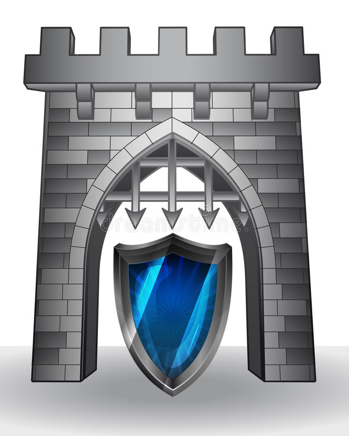 Passaggio del portone a sicurezza con lo schermo  illustrazione vettoriale