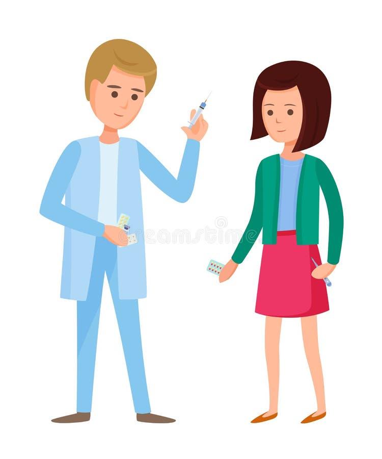 Passaggio della ragazza delle procedure mediche, sistemi diagnostici di medico, farmaco di trattamento illustrazione vettoriale