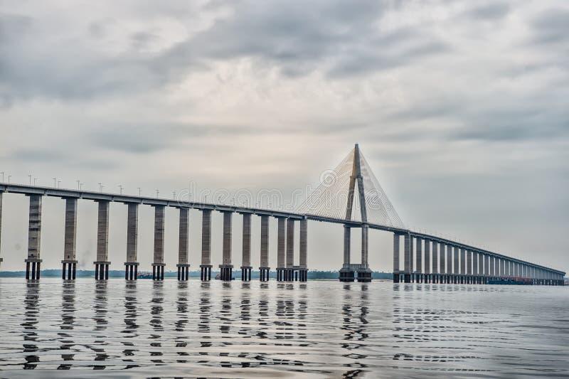 Passaggio della strada sopra acqua sul cielo nuvoloso Ponte sopra il mare a Manaus, Brasile Architettura e concetto di progetto D fotografia stock