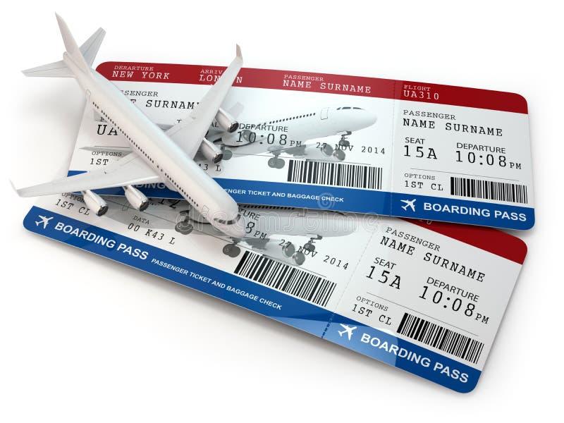 Passaggio di imbarco Biglietti ed aeroplano royalty illustrazione gratis