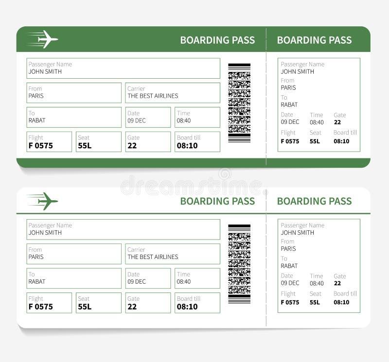 Passaggio di imbarco dei biglietti aerei e numero verdi del portone illustrazione di stock