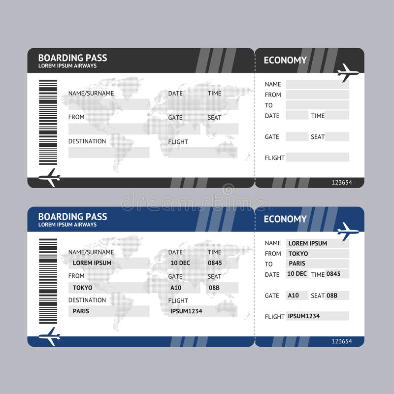 Passaggio di imbarco del biglietto di linea aerea Vettore illustrazione vettoriale