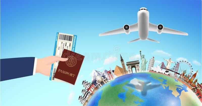 Passaggio di imbarco del passaporto con il punto di riferimento di viaggio intorno al mondo royalty illustrazione gratis