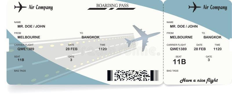 Passaggio di imbarco dell'aeroplano Biglietto di linea aerea di vettore illustrazione vettoriale