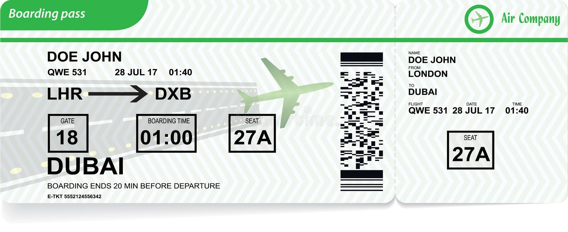 Passaggio di imbarco dell'aeroplano Biglietto di linea aerea di vettore illustrazione di stock