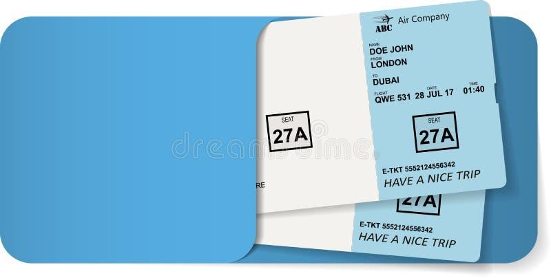 Passaggio di imbarco dentro della busta blu illustrazione di stock