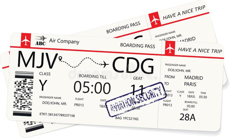 Passaggio di imbarco due o biglietto di aeroplano rosso royalty illustrazione gratis