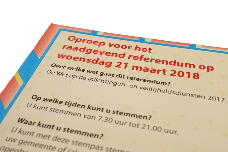 Passaggio di voto del referendum olandese ufficiale fotografie stock libere da diritti