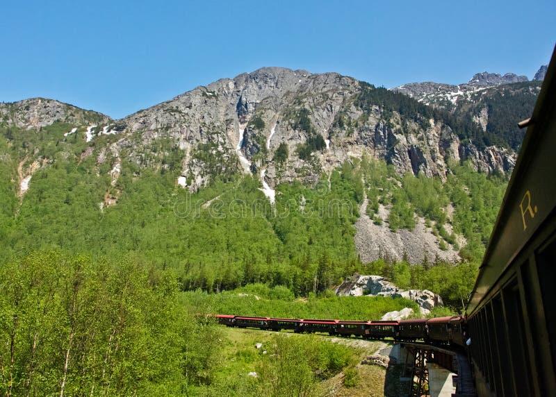 Passaggio e ferrovia bianchi dell'itinerario del Yukon immagini stock libere da diritti