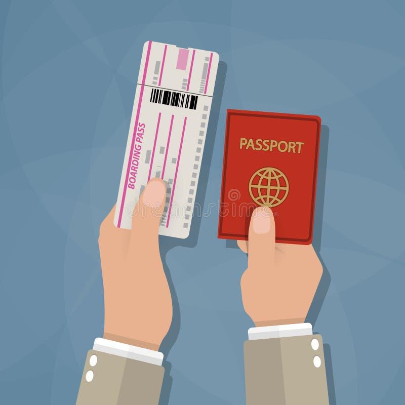 Passaggio e passaporto di imbarco in mani illustrazione vettoriale