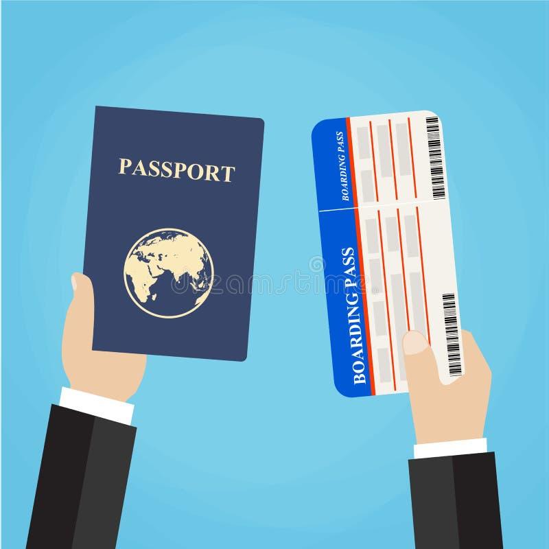 Passaggio e passaporto di imbarco in mani illustrazione di stock